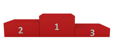 dais: Red pedestal with white numerals isolated on white. Very large resolution Stock Photo