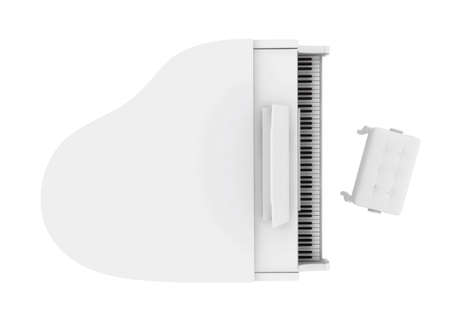 Beautiful white grand piano isolated on white background Stock Photo