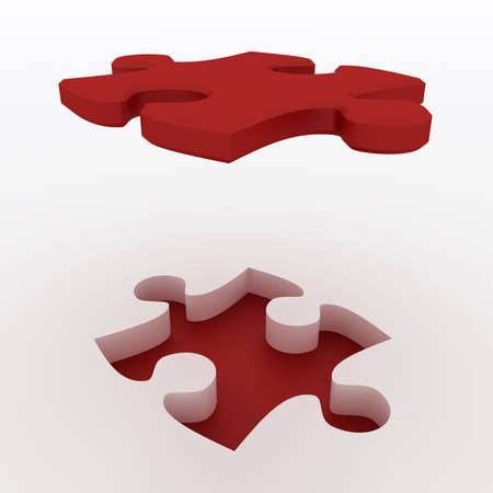 Beautiful Red Puzzle on white background. Large image Resolution Stock Photo - 6301662