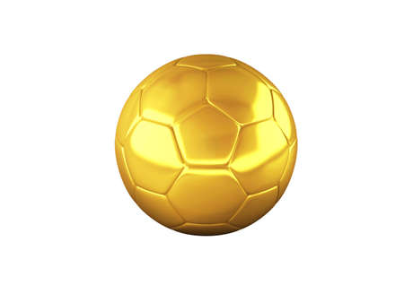 Gold Soccer ball on white background. High resolution 3D image photo
