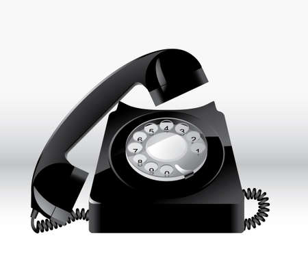 Old Black Phone Vector on white background Illustration