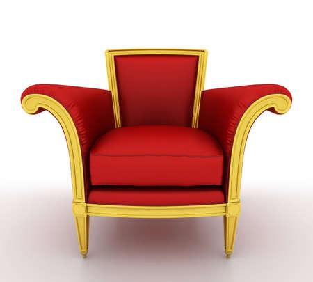 trono real: Cl�sica silla roja brillante, aislado en un fondo blanco  Foto de archivo