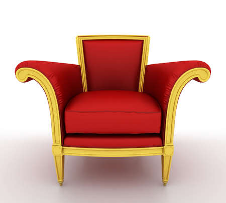 gold house: Classic glossy red chair, isolated on a white background Stock Photo