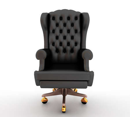 office chair: Classic glossy black chair, isolated on a white background Stock Photo