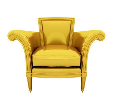conjugation: Retro luxury gold chair isolated on white background