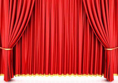 Cortina de teatro rojo  Foto de archivo - 6490803