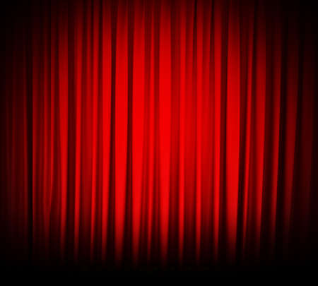 Red theater curtain with spot lights