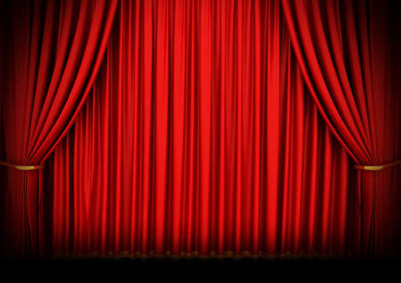 classical theater: Red theater curtain with spot lights
