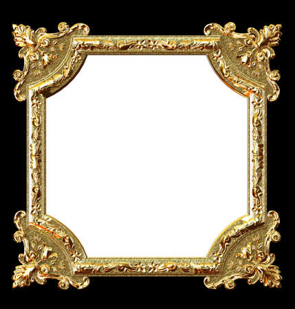 Golden frame on black background and white place for your picture photo