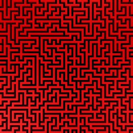 3d Render illustration of Simple red maze illustration