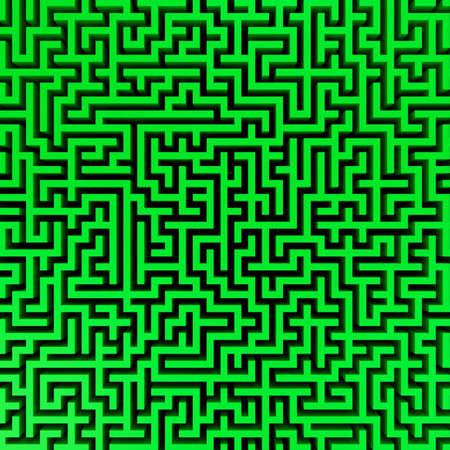 3d Render illustration of Simple green maze illustration