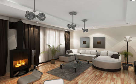 Modern living-room with the modern furniture and Fireplace