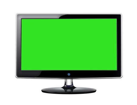 LCD screen with green display on white background Stock Photo