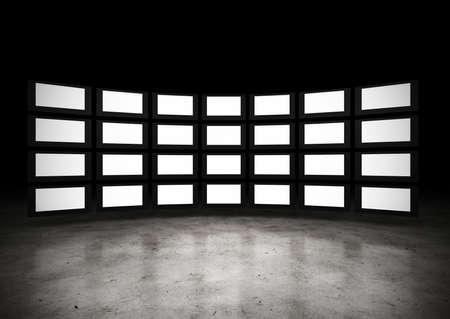 Plusieurs téléviseurs avec espace vierge. Résolution de la grande image