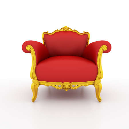 red couch: Classic glossy red armchair, isolated on a white background