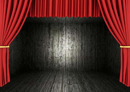 rode podium theater gordijnen en donkere kamer stockfoto