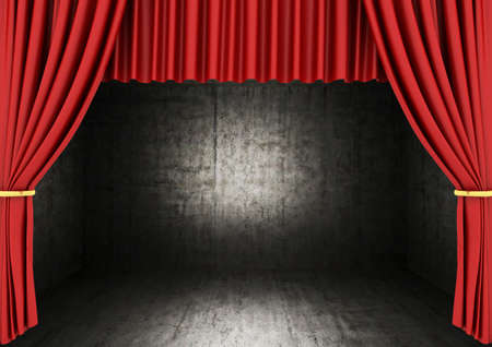 Red Stage Theater Drapes and dark room photo