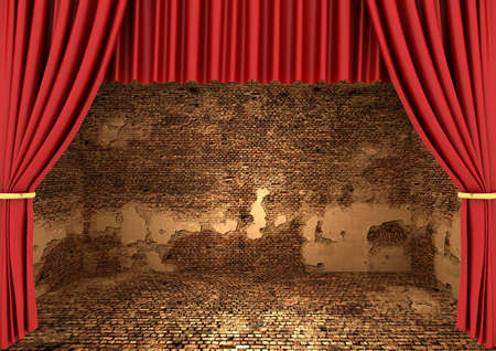 Interior of a very grungy brick wall room and Red Stage Theater Drapes for use as background image photo