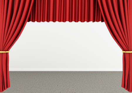 3d rendering of an empty room with Red theater curtain photo