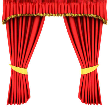 Red theater curtain isolated on white background Stock Photo - 6490913