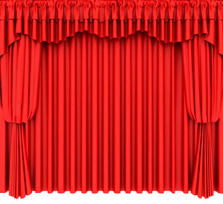 Red theater curtain isolated on white background Stock Photo - 6490923
