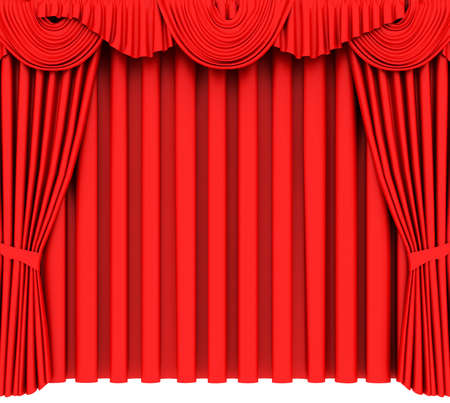 Red theater curtain isolated on white background photo