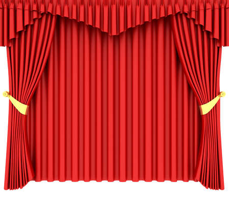 tableau curtains: Red theater curtain isolated on white background