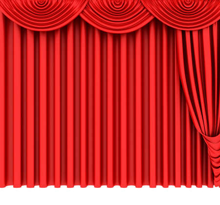 Red theater curtain isolated on white background Stock Photo - 6490918