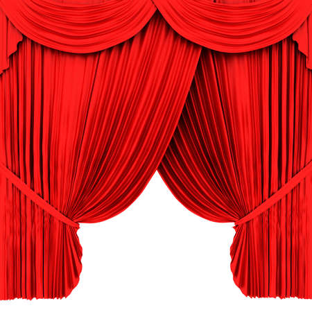 Red theater curtain isolated on white background Stock Photo - 6490929
