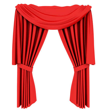 Red theater curtain isolated on white background Stock Photo - 6490893