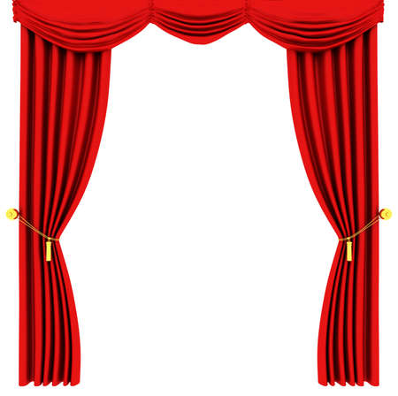 classical theater: Red theater curtain isolated on white background