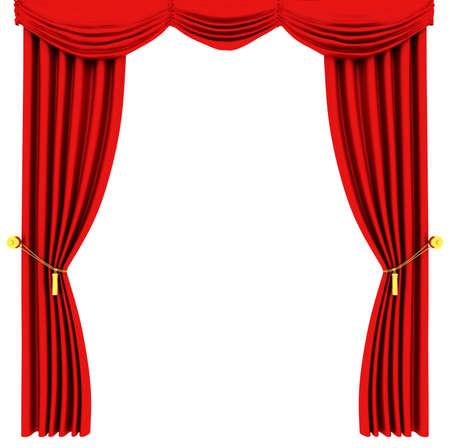 rideau de theatre: Rideau de th��tre rouge isol�e sur fond blanc