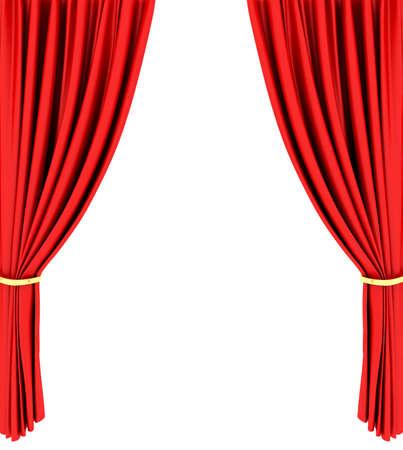 cortinas rojas: Cortina de teatro red aislada sobre fondo blanco Foto de archivo