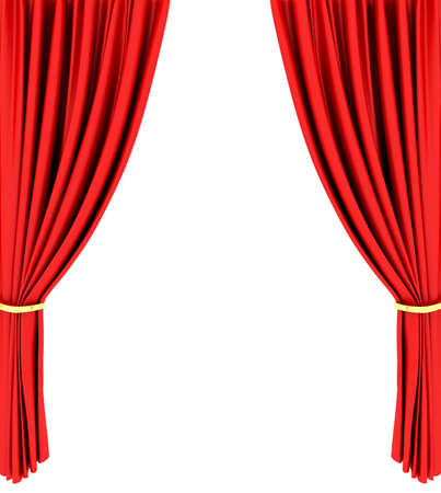 theater auditorium: Red theater curtain isolated on white background