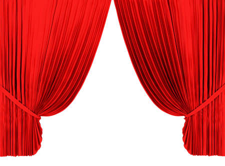 tableau: Red theater curtain isolated on white background