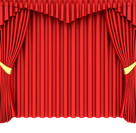Red theater curtain isolated on white background Stock Photo - 6490914