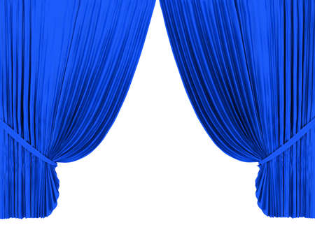 tableau curtains: Blue theater curtain isolated on white background Stock Photo