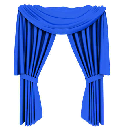 white curtain: Blue theater curtain isolated on white background Stock Photo