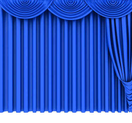 Blue theater curtain isolated on white background photo