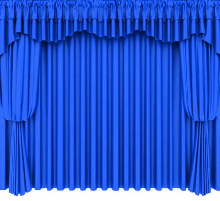 blue velvet: Blue theater curtain isolated on white background Stock Photo