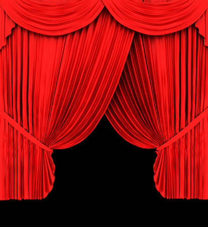 tableau curtains: Red theater curtain isolated on black  background