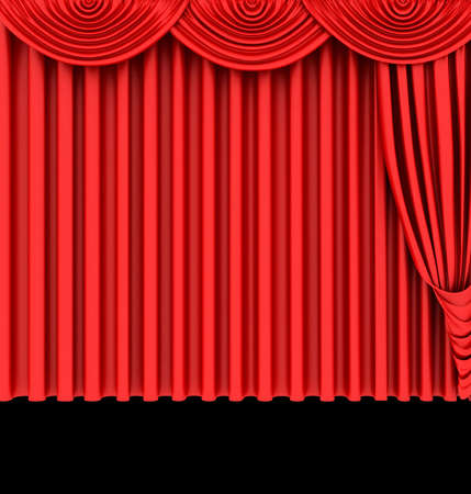 Red theater curtain isolated on black  background photo