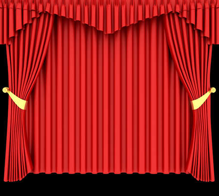 ribetes: Cortina de teatro red aislada sobre fondo negro Foto de archivo