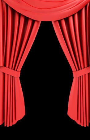 tableau: Red theater curtain isolated on black  background