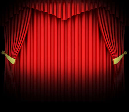 Red theater curtain with spot lights  Stock Photo