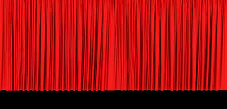 Red theater curtain isolated on black  background