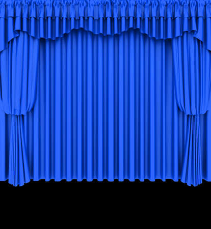 classical theater: Blue theater curtain isolated on black background