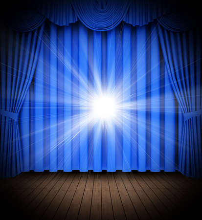 tableau curtains: Blue theater curtain opening scene with spot lights Stock Photo
