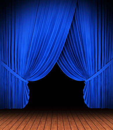 Blue theater curtain with spot lights photo