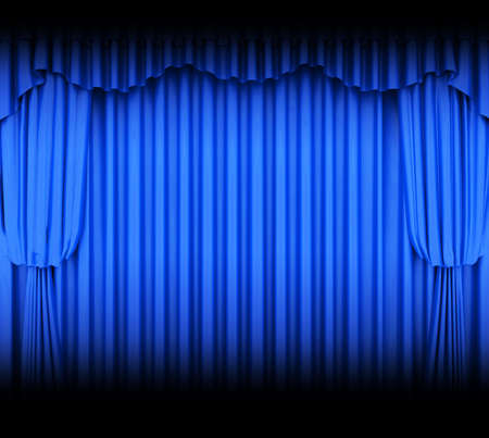 tableau curtains: Blue theater curtain with spot lights